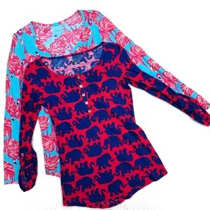 2 Lilly Pulitzer Pullover Shirts Small